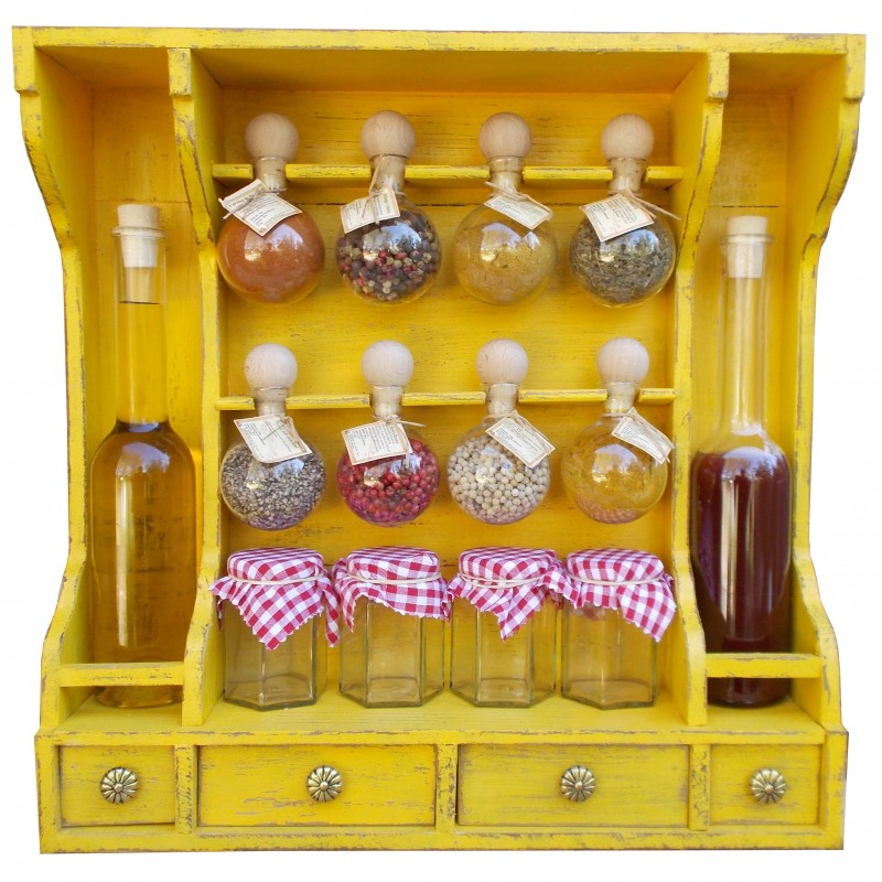 Spice rack 8 bubbles + oil, Yellow patina